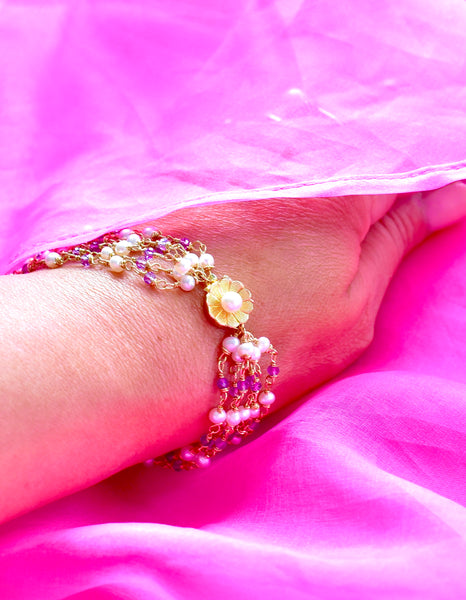 "Luxury 6-Strand Wire Wrapped Freshwater Pearl and Amethyst Bracelet with 14K Yellow Gold Floral Clasp ""Summer Luxe"" 💐"