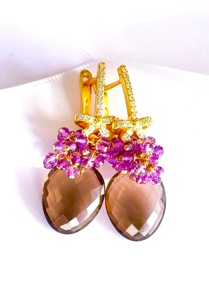"Unique Smokey Quartz and Amethyst earrings ""Australia""💐"