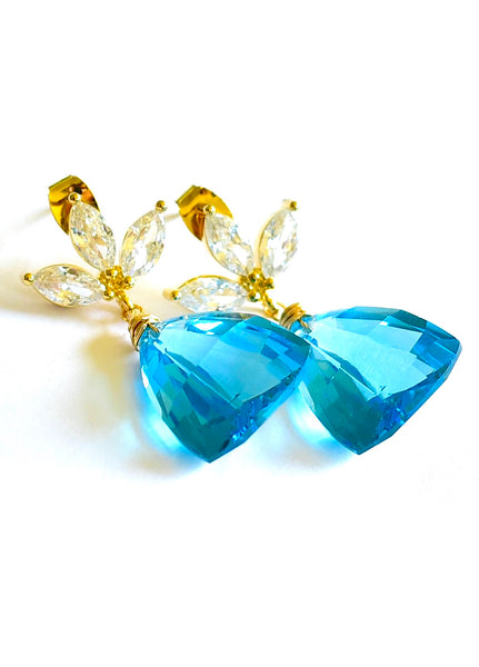 "Swiss Blue Topaz Earrings ""Ocean"""