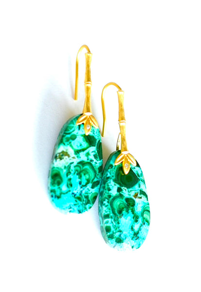 "Chrysocolla Malachite Earrings ""Green Love"" 💐"