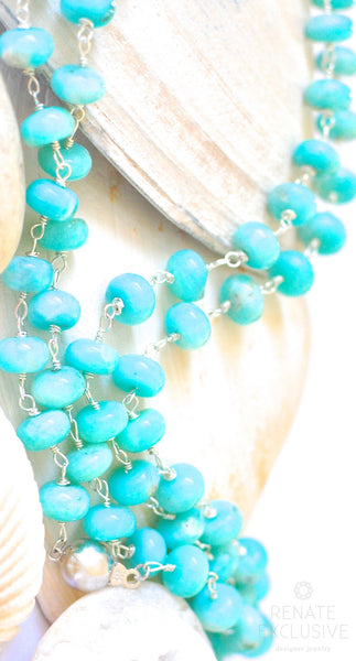 "Long Natural Amazonite Necklace ""Breathe in The Ocean"""