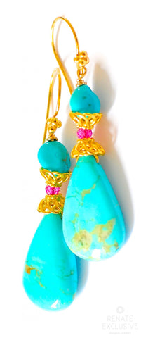 "Handmade Jewelry: Artisan Style Sleeping Beauty Turquoise Earrings ""You Are My King"""