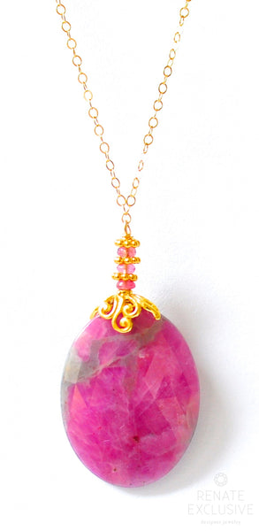 "Luxury Pink Sapphire Necklace ""Rose Red Rose"""