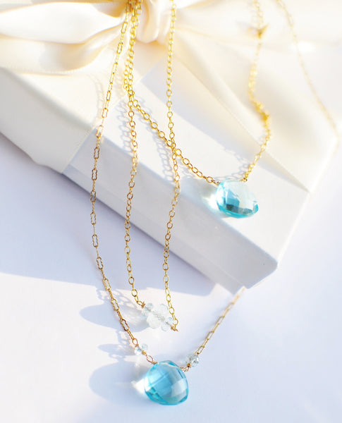 FALL in Love! Set of Three Sky Blue Quartz Necklaces - Handmade Jewelry - Renate Exclusive - 1