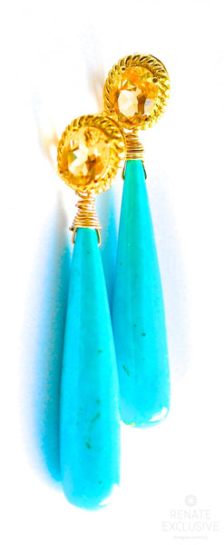 "Long Sleeping Beauty Turquoise and Citrine Earrings "" Queen Lady"""