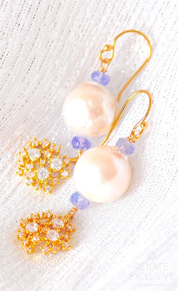"Holiday Special! Lovely Baroque Pearl and Tanzanite Earrings ""Snowball"""