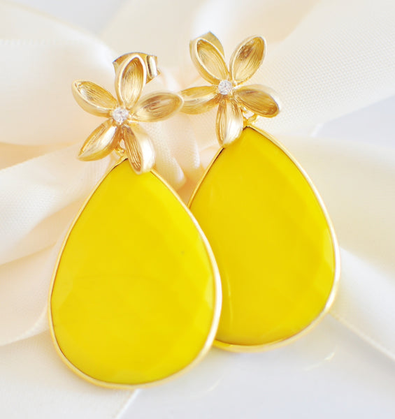 Summer! Beautiful Summer Yellow Turquoise Bezel Earrings - Handmade Jewelry - Renate Exclusive - 1
