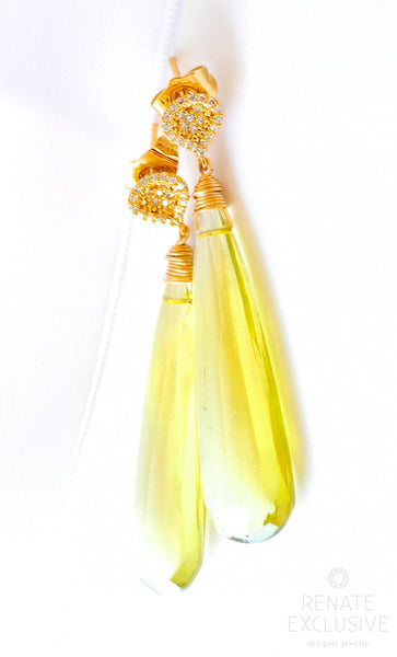 "Luxe HUGE Lemon Quartz Earrings ""Florida"" - Handmade Jewelry - Renate Exclusive - 1"