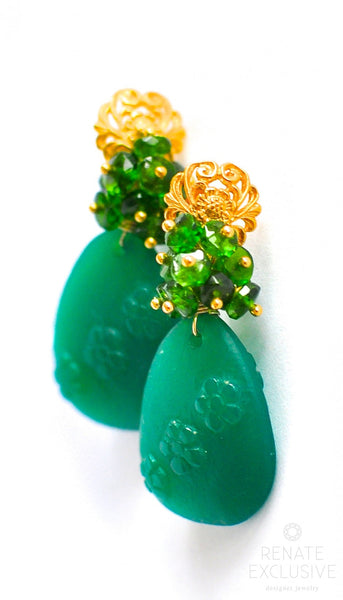 "Carved Green Onyx and Russian Green Chrome Diopside Earrings ""Russian Beauty"" - Handmade Jewelry - Renate Exclusive - 1"