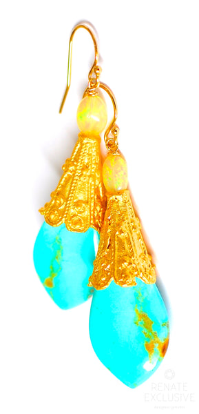"Luxurious Kingman Turquoise and Opal Earrings ""Queen and King"""