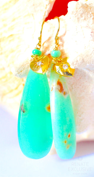 "Natural Smooth Chrysoprase Long Teardrops Earrings ""Love is Love"""