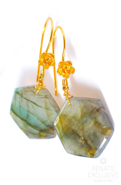 "Large Labradorite Earrings ""Hexagon"""