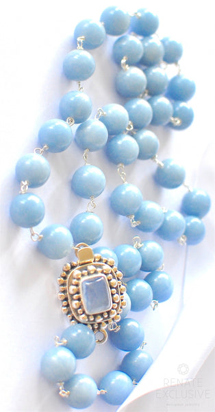 "Gorgeous Natural Peruvian Angelite Necklace with Elegant Pendant ""SkyBlueLove"""