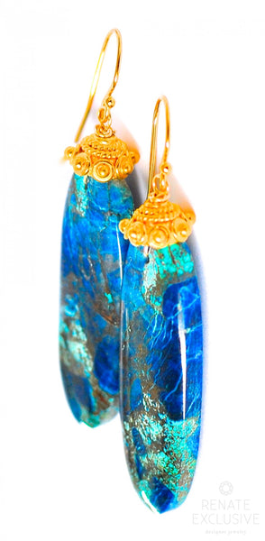 "Large Azurite Chrysocolla Earrings ""Earth Stone"""