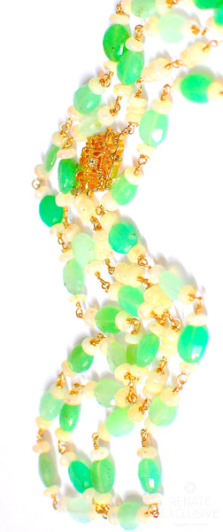 "Luxurious Chrysoprase and Opal Necklace ""Green Queen"""