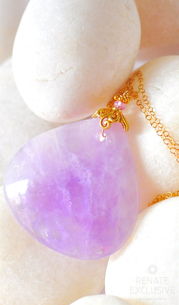 "Huge Luxurious Lilac Amethyst Necklace ""Lavendula"""