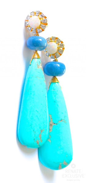 "Stylish Kingman Turquoise and African Blue Opal Earrings ""African Style"""