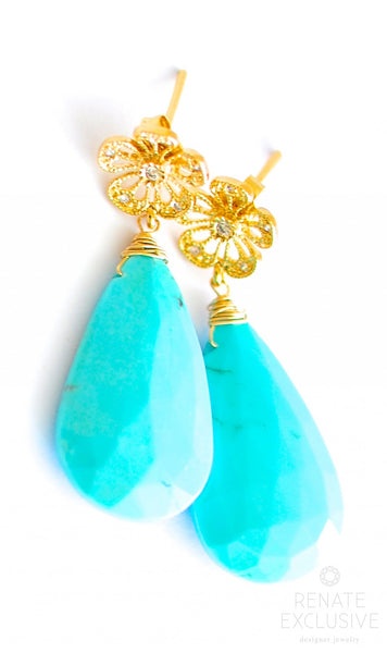 "Simple GORGEOUS Sleeping Beauty Turquoise Earrings ""Summer"" - Handmade Jewelry - Renate Exclusive - 1"