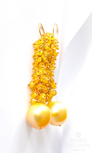 "Holiday Special! Exotic South Sea Myanmar Baroque Pearl and Yellow Sapphire Earrings ""Golden Girl"""