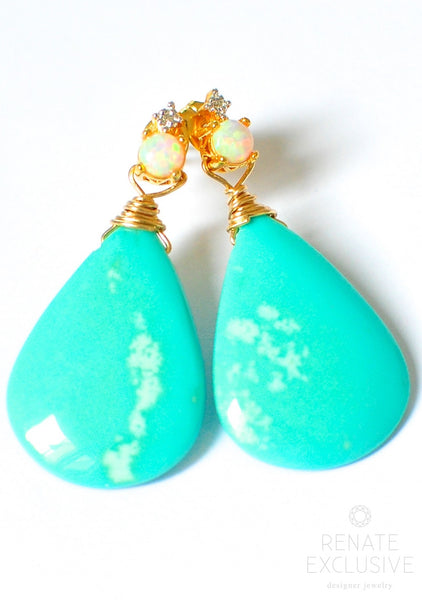 "Deluxe Sleeping Beauty Turquoise Earrings ""PalmBeachLady2"""