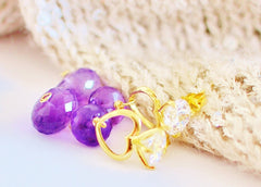 FALL in Love! Small is Cute! Cute Purple Amethyst Earrings - Handmade Jewelry - Renate Exclusive - 3