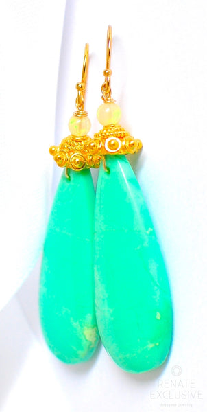 "Large Natural Chrysoprase Earrings ""Minty Green"""