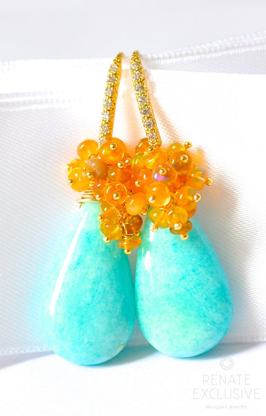 "Deluxe Amazonite and Ethiopian Opal Earrings ""Golden Queen"" - Handmade Jewelry - Renate Exclusive - 1"
