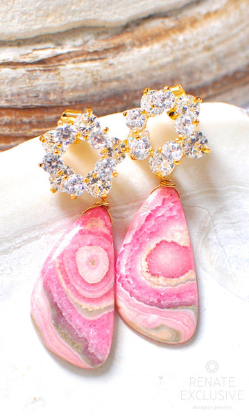 "Luxe Rhodochrosite Earrings ""Suzanne"" - Handmade Jewelry - Renate Exclusive - 1"