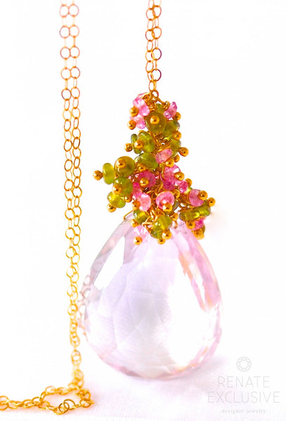 "HUGE Pink Amethyst Necklace ""Valentina"" - Handmade Jewelry - Renate Exclusive - 1"