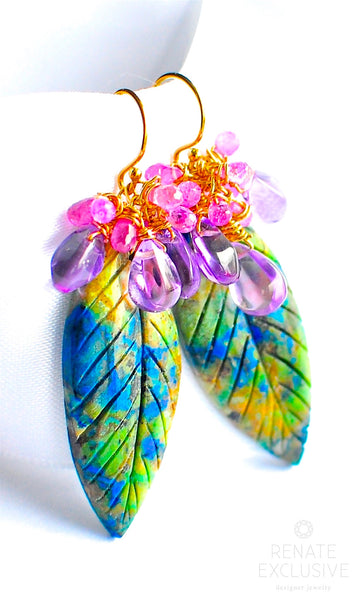 "Natural Chrysocolla, Pink Sapphire and Amethyst Earrings ""Colorful World"""