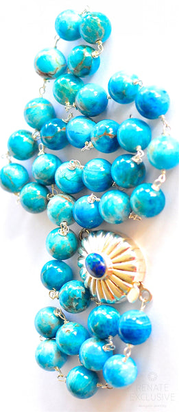 "Elegant Deep Blue Apatite Necklace with Azurite Clasp ""Deep Blue"""