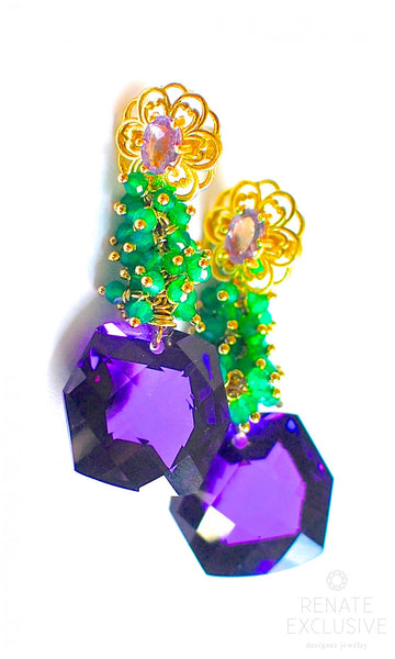 "Holiday Special! Unique Purple Amethyst and Green Onyx Earrings ""Greenland"""