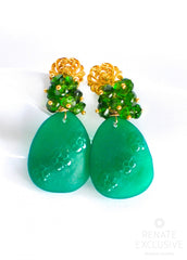 "Carved Green Onyx and Russian Green Chrome Diopside Earrings ""Russian Beauty"" - Handmade Jewelry - Renate Exclusive - 4"