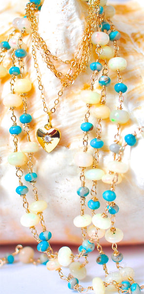 "Luxurious Long Ethiopian Opal and Natural American Fox Turquoise Necklace ""American Dream"""