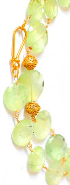 "Luxurious Prehnite Coin Necklace ""Summer Light"""