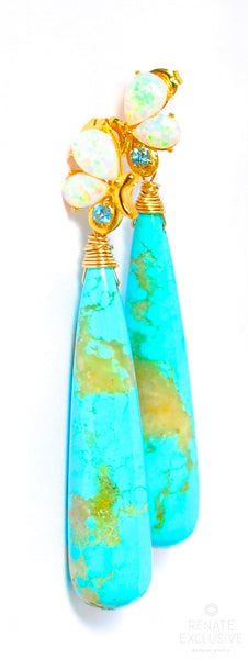 "Huge and Luxe Sleeping Beauty Turquoise Earrings ""Turquoise Queen III"""