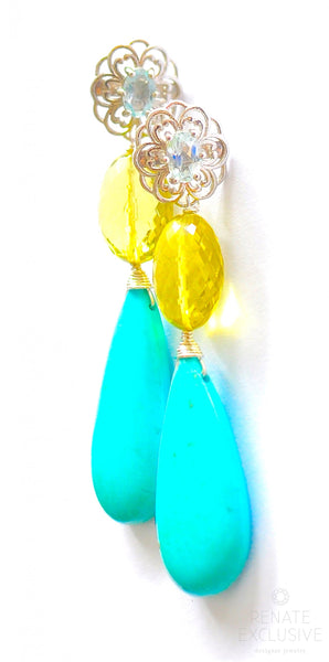 "Luxury Two-tone earrings with Sleeping Beauty Turquoise and Lemon Quartz ""Sunny Days"""