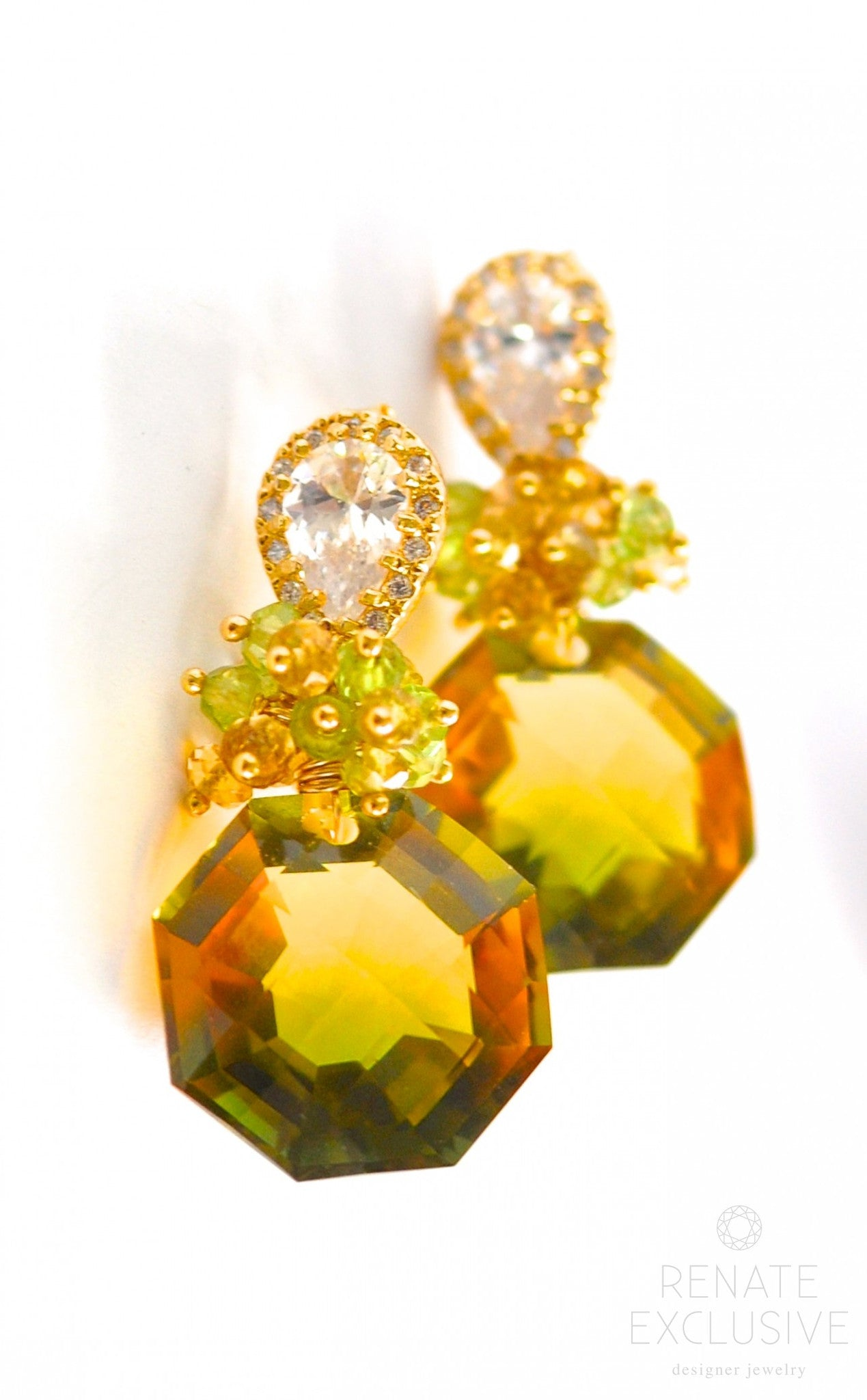 """Yellow And Green Living Room Decor: Unique Bi-Color Green Yellow Ametrine Earrings """"NYC Spring"""