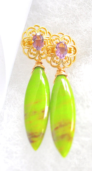 "Natural Green Opal and Amethyst Earrings ""Greenland"""