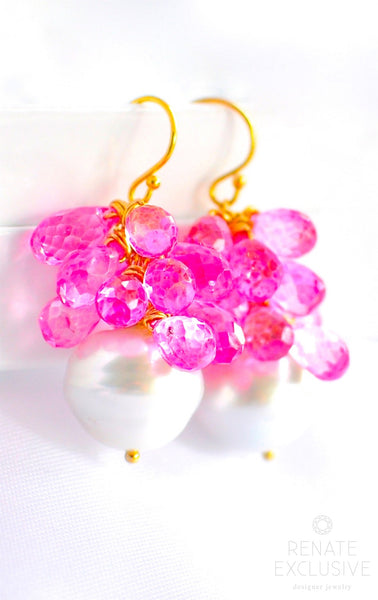 "Luxurious Australian Paspaley Pearl Earrings with Pink Topaz ""Barbie"""