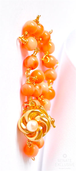 "Extremely Beautiful Genuine Angel Skin Coral Bracelet with 14K Solid Yellow Gold Clasp ""Coral"""