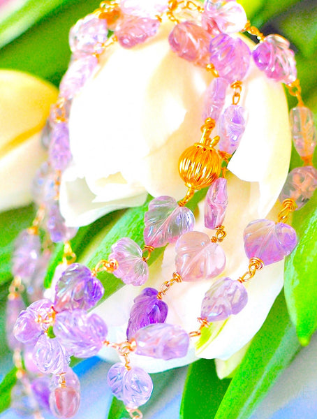 "Luxurious Ametrine Carved Leaves and 18k Solid Yellow Gold Clasp ""Spring Garden"""