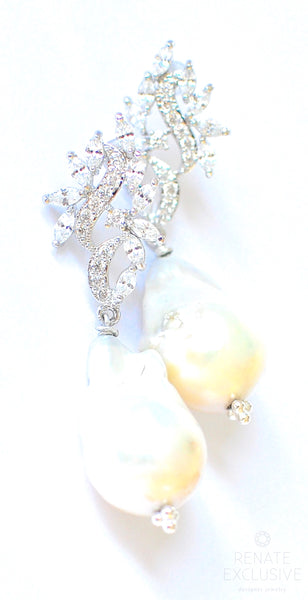 "Luxurious and Shiny Big Baroque Pearl Earrings "" NYE Glam"""