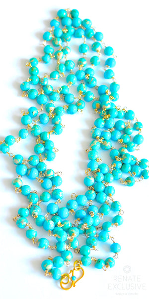 "The longest necklace you've ever seen! Mexican Campitos Turquoise Necklace with 18K Solid Gold Clasp ""Long Enough"""