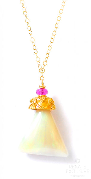 "Luxurious Australian White Opal Necklace ""GoldenGirlsDreams"""