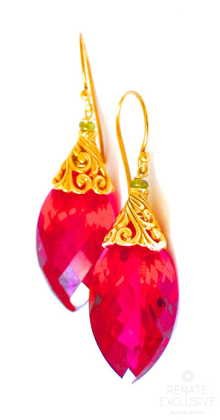"Luxe Red Topaz Earrings ""Christmas Beauty"""