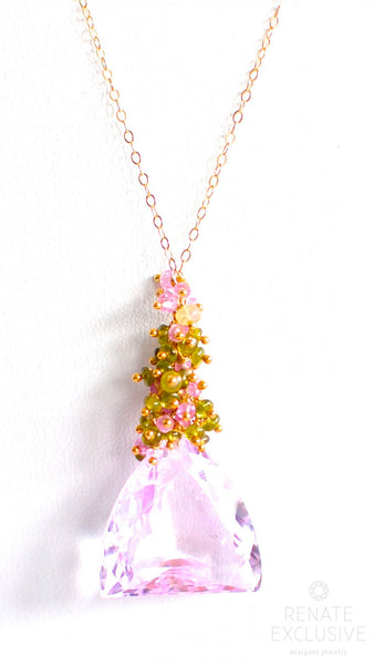 "Luxe Petal Pink Kunzite Necklace ""Blossom"" - Handmade Jewelry - Renate Exclusive - 1"