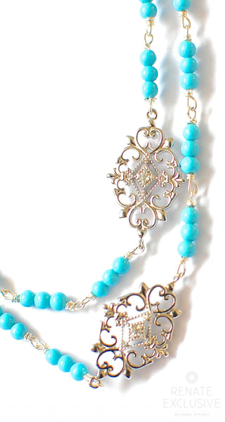 "Very Long Sleeping Beauty Turquoise Necklace with Sterling Silver Pendants ""IceQueen"""