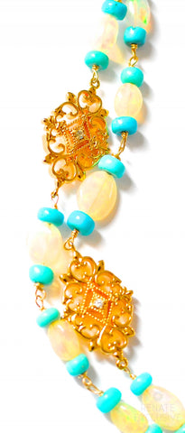 "Handmade Jewelry: Luxe Style Long Ethiopia Fire Opal and Sleeping Beauty Turquoise Necklace ""IceQueenII"""