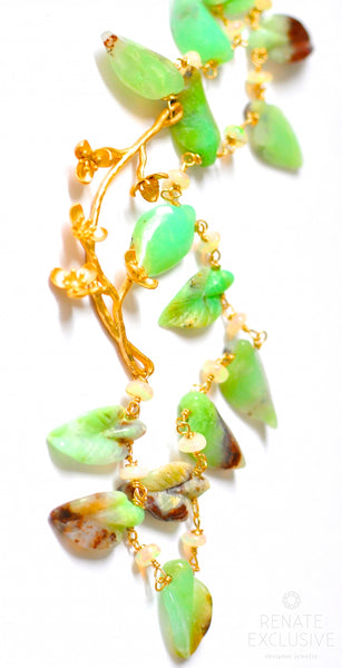 "Unique Natural Chrysoprase Carved Leaf Necklace with Opal ""Fairytale"""